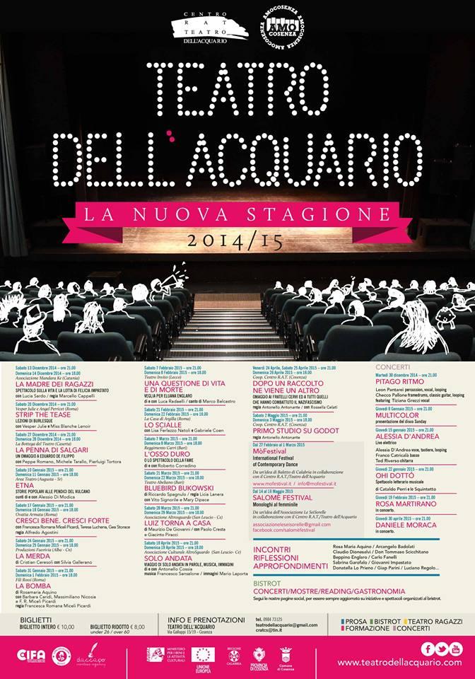 Locandina Nuova Stagione- Teatro dell'Acquario