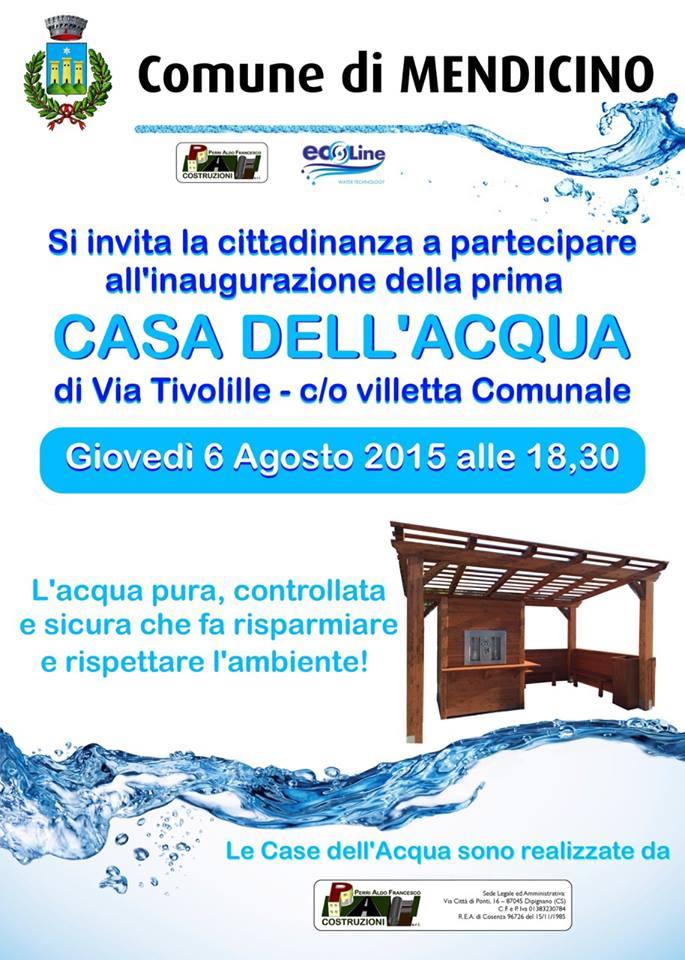 La prima Casa dell'Acqua arriva a Mendicino nel prossimo giovedì