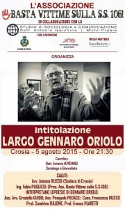CROSIA Il 5 agosto intitolazione Largo Gennaro Oriolo