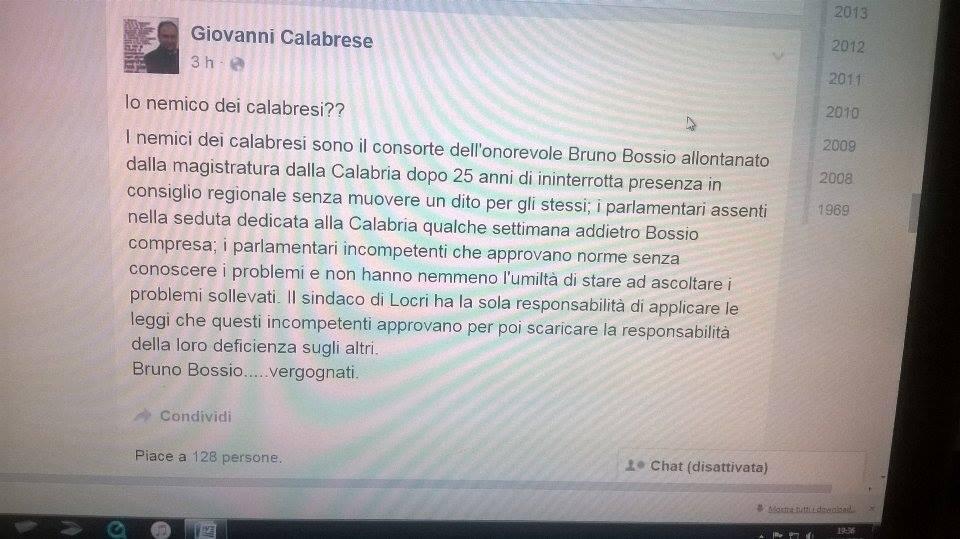 Calabrese contro tutti il sindaco di locri attacca anche for Parlamentari calabresi