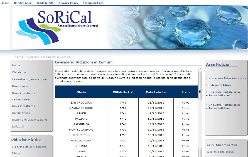 Sorical riduzione dell 39 acqua a rende dal 13 ottobre la for Riduzione del rumore del tubo dell acqua