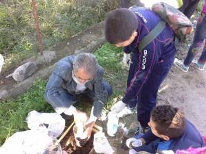 I ragazzi dell'Istituto Alvaro piantano alcuni alberi