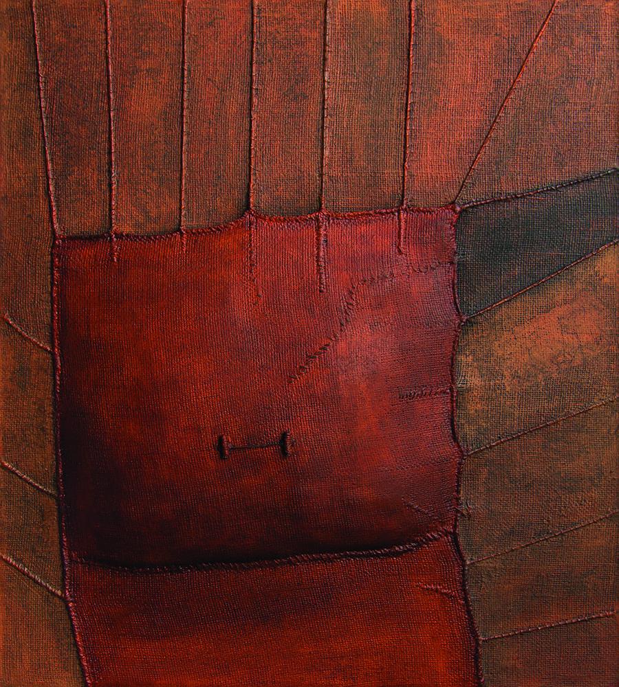 Max Marra, Cieli di cosmos, 2013, tecnica mista su yuta, cm100x90