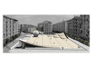 Piazza Bilotti (la strada bloccata è sul lato sinistro della foto) Ph. Comune di Cosenza