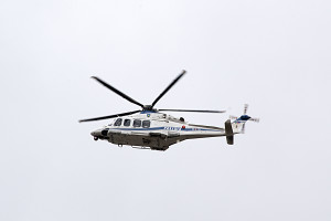 L'elicottero presidenziale in arrivo a Cosenza