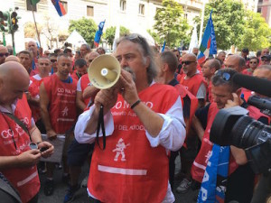 protesta vigili del fuoco_13.7.2016_il segretario generale del conapo Antonio Brizzi