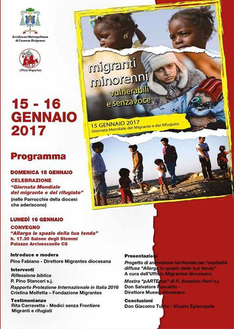 Locandina giornata mondiale migrante rifugiato