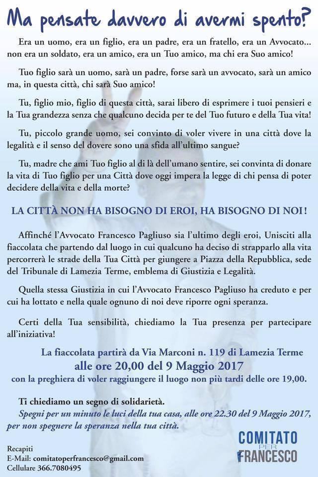 Francesco Pagliuso fiaccolata