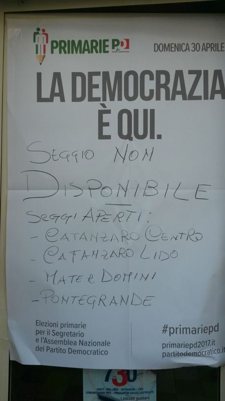 Pd: primarie, mancano scrutatori, un seggio a Catanzaro non apre