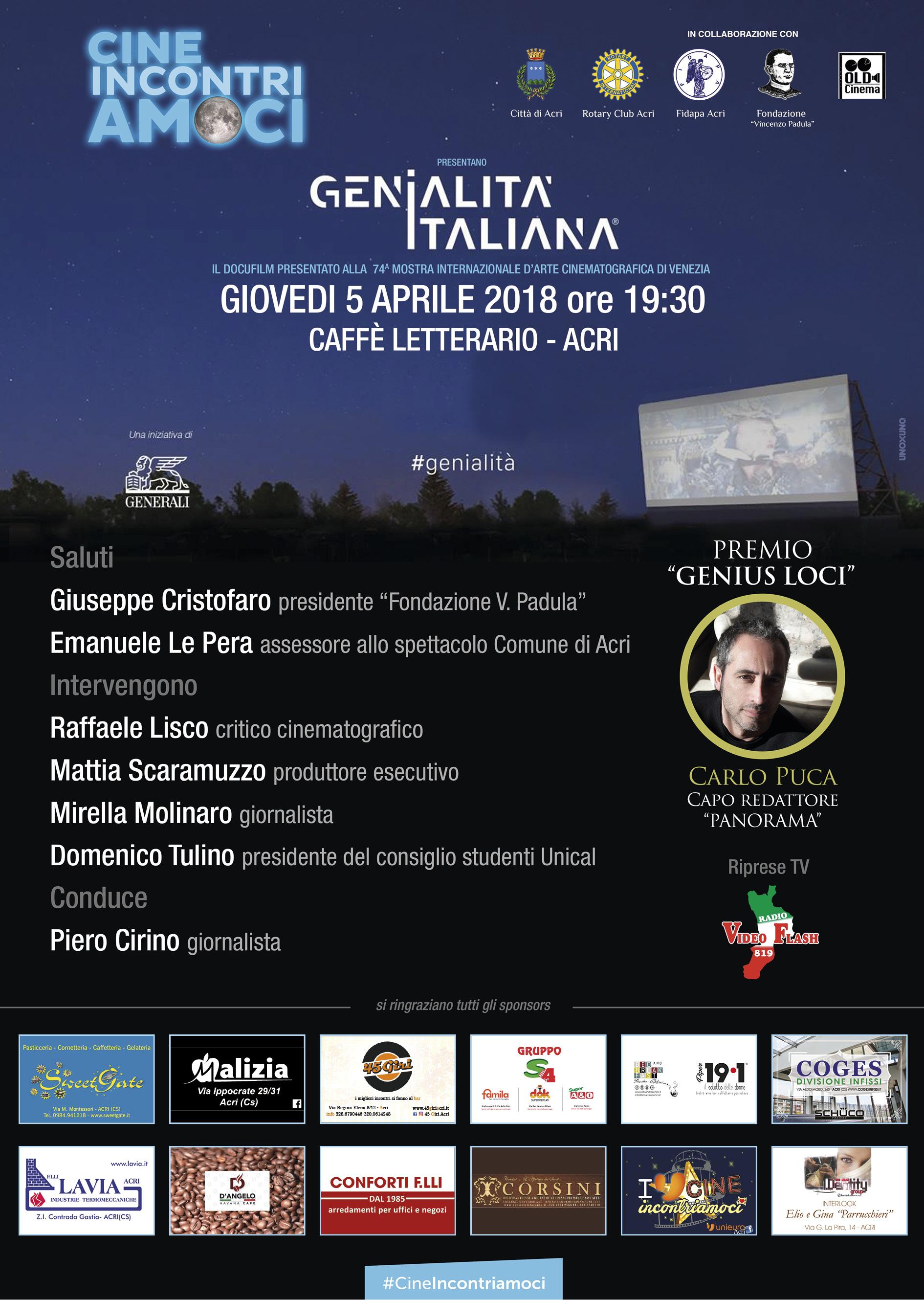 locandina CineIncontriamoci Genialità Italiana
