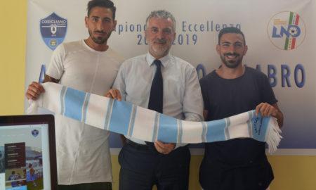 Da Sx Difensore Gaetano Bertini, Presidente Mauro Nucaro e la Punta Esterna Cristian Criniti