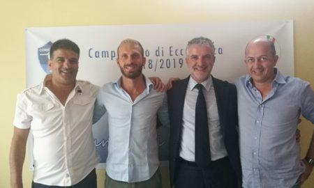 Da Sx Vice Presidente Roberto Olivieri, Centrocampista Cosimo Cosenza, Presidente Mauro Nucaro e Vice Presidente Enzo RInaldi