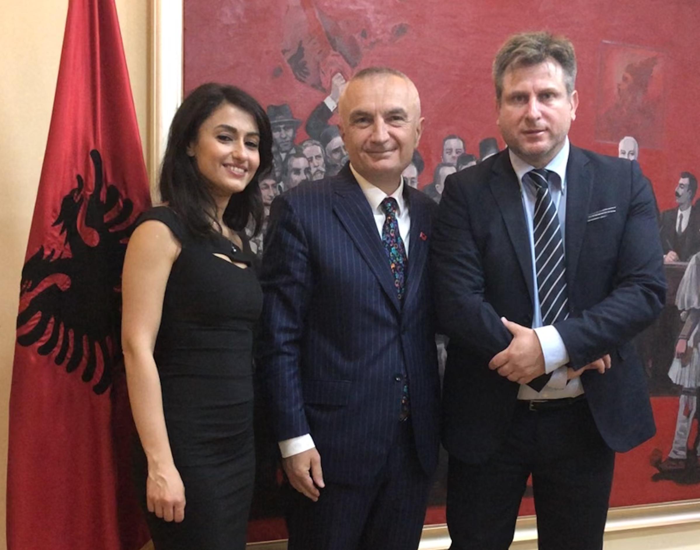 Da sx la regista Stefania Capobianco, il Capo di Stato d'Albania Ilir Meta, il regista Francesco Gagliardi