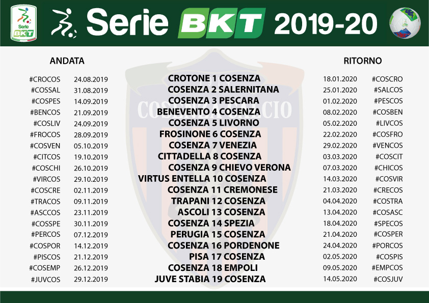 Calendario Serie A 2020 11.Calendario Crotone Calcio