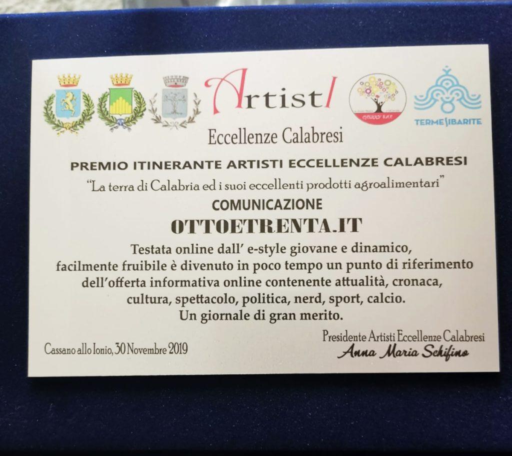 Premio Artisti eccellenze calabresi