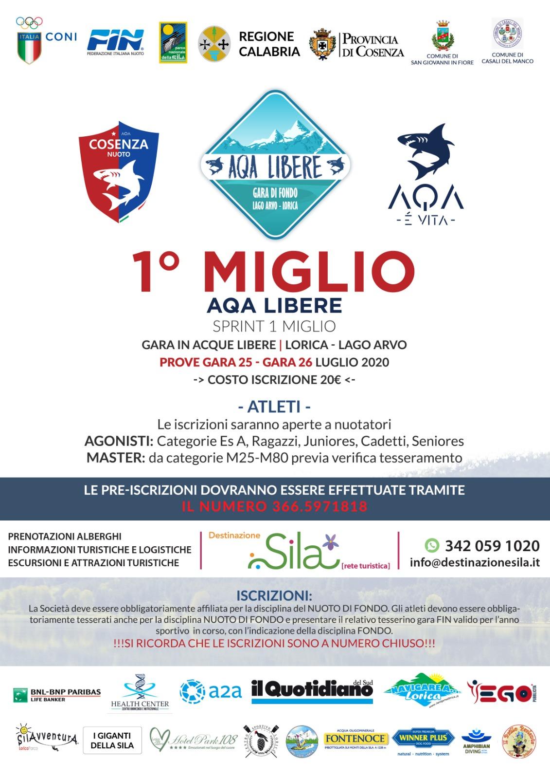 Locandina 2020 AQA LIBERE -LAGO ARVO-LORICA