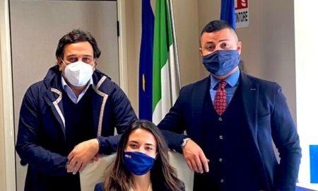 l'Assessore Fausto Orsomarso, Giorgia Sabato e Luigi Falco, Presidente e Vice Presidente di Confapi Giovani